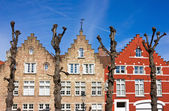 Traditional old Belgium House Facades in Bruges — Stock Photo