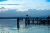 Lake Garda Pier and the Last Ferry for the day — Stock Photo