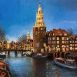 Stock Photo: Lights of Amsterdam
