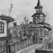 Pencil Drawing of The Old Clock Tower in Tryavna — Stock Photo