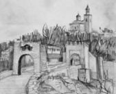 Pencil Drawing of Fortress Tsarevets in Veliko Tarnovo — Stock Photo