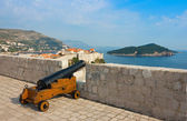 View toward old town Dubrovnik and island Lokrum — Stock Photo
