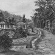 Pencil Drawing of Traditional Old Bulgarian Houses — Stock Photo