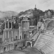 Pencil Drawing of Antique Theatre in Plovdiv — Stock Photo