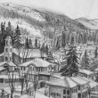 Drawing of Small Town Koprivshtica in the Winter — Stock Photo