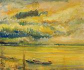 多瑙河流域的日落全景 — 图库照片