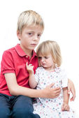 Unhappy sister and brother. — Stock Photo