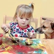 Stock Photo: Two year old girl painting