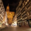 Stock Photo: Strasbourg Cathedral and main square at night, France