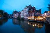 Twilight restaurant in Strasbourg old town — Stock Photo