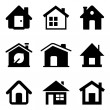 Black Home Icons — Stock Vector