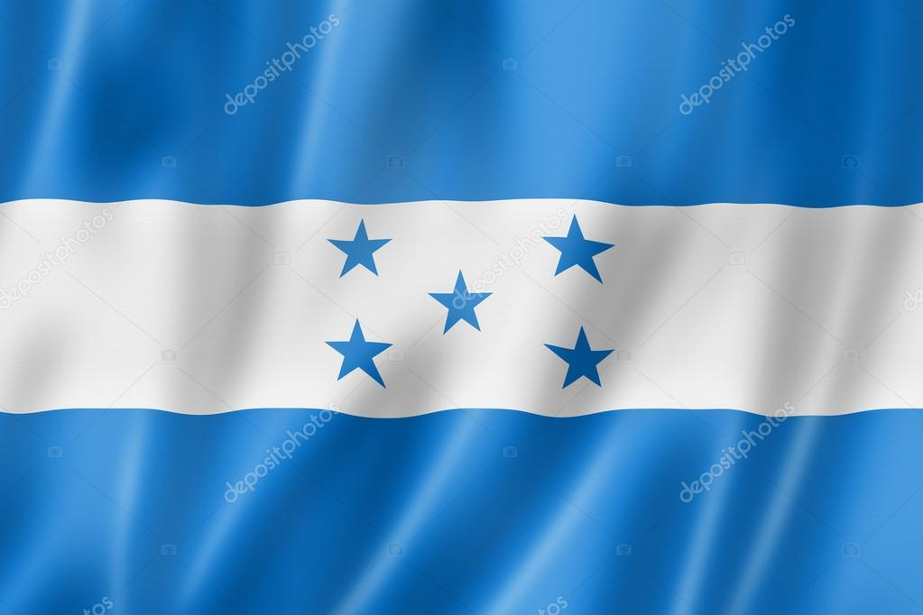 Honduras flag, three dimensional render, satin texture  Stock Photo #12618872