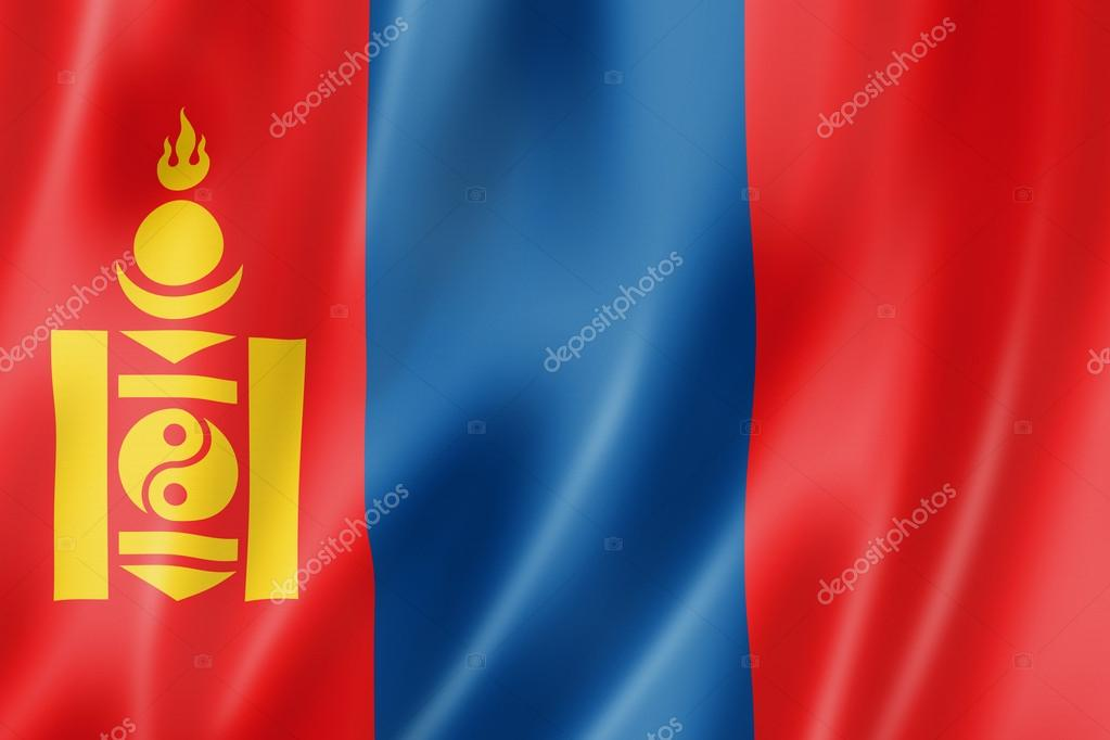 Mongolia flag, three dimensional render, satin texture — Stock Photo #12619501