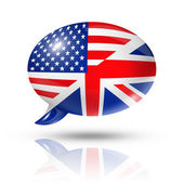 UK and USA flags speech bubble — Stock Photo
