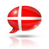 Danish flag speech bubble — Stockfoto