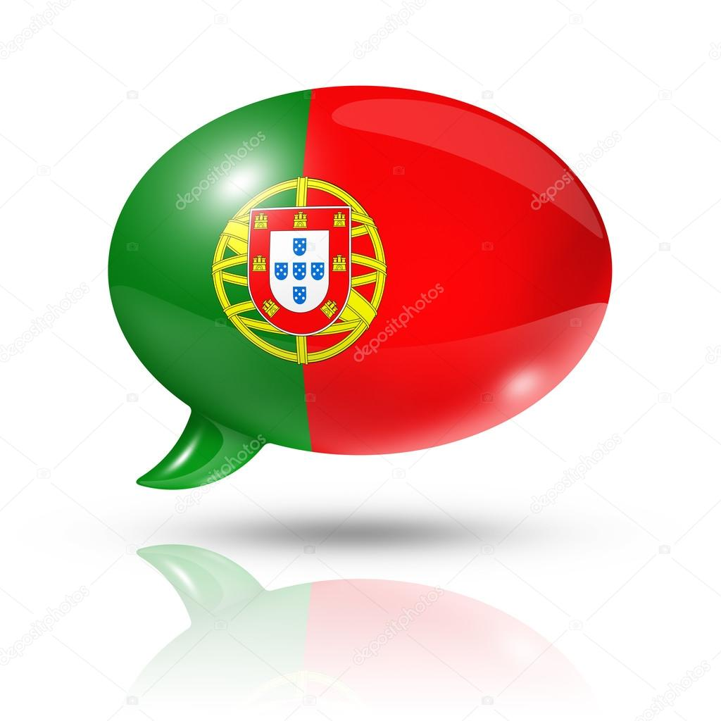 Three dimensional Portugal flag in a speech bubble isolated on white with clipping path — Lizenzfreies Foto #13461489