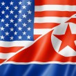 USA and North Korea flag — 图库照片