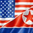 USA und Nordkorea-flag — Stockfoto