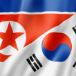 North Korea and South Korea flag — Stock Photo