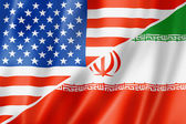 USA and Iran flag — Stockfoto