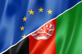 Europe and Afghanistan flag — Stockfoto