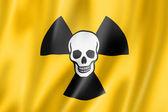 Radioactive nuclear symbol death flag — Stock Photo