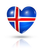 Love Iceland, heart flag icon — Stock Photo