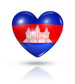 Love Cambodia, heart flag icon — Stock Photo