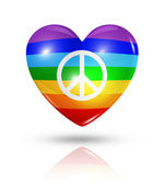 Love peace, heart flag icon — Stock Photo