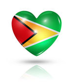 Love Guyana, heart flag icon — Stock Photo