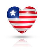 любовь либерии, сердце значок флага — Стоковое фото