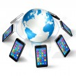 Smartphones Around World Globe, Global Communication — Stock Photo
