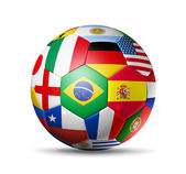 Brazil 2014,football soccer ball with world teams flags — Stock Photo