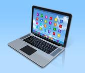 Ordenador portátil - aplicaciones icon interfaz — Foto de Stock