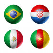 Brazil world cup 2014 group A flags on soccer balls — Stock Photo