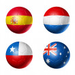 Brazil world cup 2014 group B flags on soccer balls — Стоковая фотография
