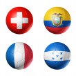 Brazil world cup 2014 group E flags on soccer balls — Stock Photo