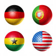 Brazil world cup 2014 group G flags on soccer balls — Stock Photo #36871507