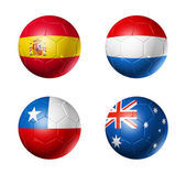 Brazil world cup 2014 group B flags on soccer balls — Stock Photo