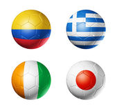 Brazil world cup 2014 group C flags on soccer balls — Stock Photo