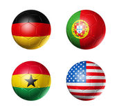 Brazil world cup 2014 group G flags on soccer balls — Stock Photo