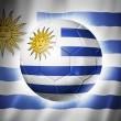 Soccer football ball with Uruguay flag — Stock Photo