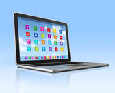 Laptop Computer - apps icons interface — Stock Photo
