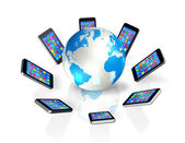 Smartphones Around World Globe, Global Communication — Stock Photo