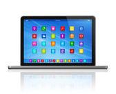Computador portátil - interface de ícones de aplicativos — Fotografia Stock