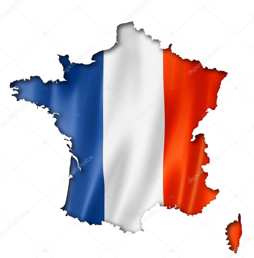 法国国旗映射,三个三维渲染中,孤立的白色衬底上— photo by daboost