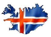 Icelandic flag map — Stock Photo