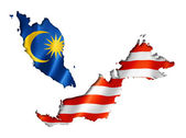 Malaysian flag map — Stock Photo