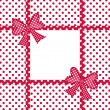 Red polka dot background with gift bows and ribbons — Stock Photo #15798525