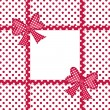 Red polka dot background with gift bows and ribbons — Stock Photo